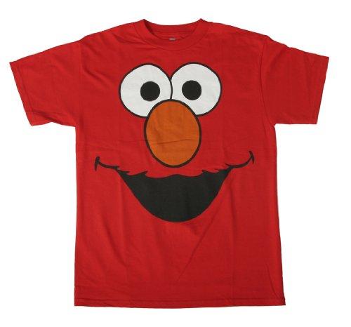 Sesame Street Elmo Face Men's T-Shirt, Red, Small