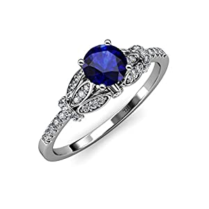 Blue Sapphire and Diamond (SI2-I1, G-H) Engagement Ring 1.23 ct tw in 14K White Gold.size 4.5