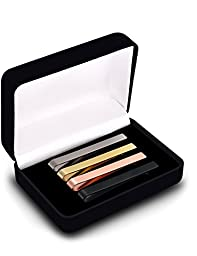 [4 Pack] Mens Tie Bar Clip in Gift Box - 2.25 Inches for Regular Ties - Silver, Black, Gold & Rose Gold