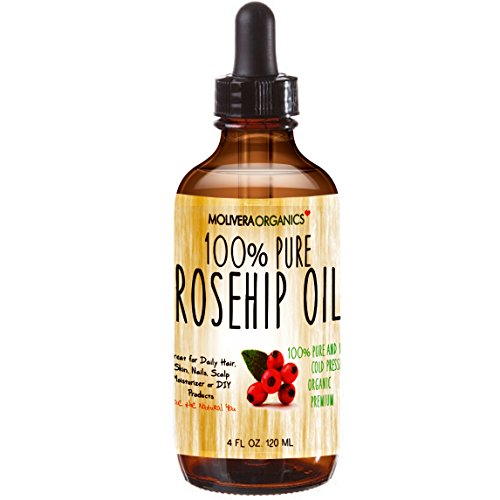 Molivera Organics Rosehip Oil 4 Fl Oz. 100% Pure Premium Organic Cold Pressed Virgin Rosehip Seed Oil -Best for Hair, Skin, Face & Nails - Great for DIY - UV Resistant Bottle - Satisfaction Guarantee