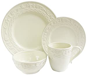 Amazon.com: American Atelier Atria 16-Piece Dinnerware Set, Cream ...