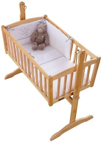 White Clair de Lune Stardust Rocking Crib//Cradle Quilt and Bumper Set
