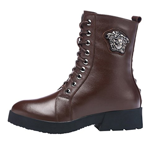 Guciheaven Women Medusa Metal Rivets Leather Martin Boots(6 B(M)Us, Coffee)