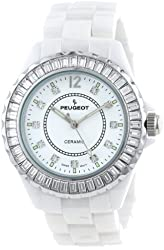 Peugeot Women's PS4885WT Swarovski Crystal-Accented Ceramic Watch