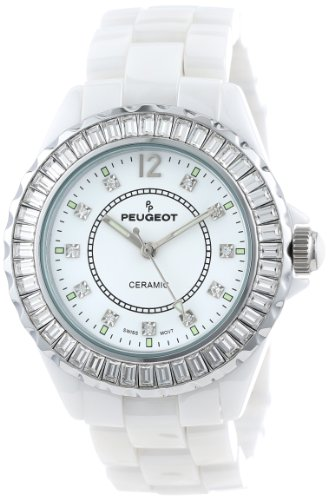 Peugeot Women's PS4885WT Swiss Ceramic Swarovski Crystal White Dial Watch