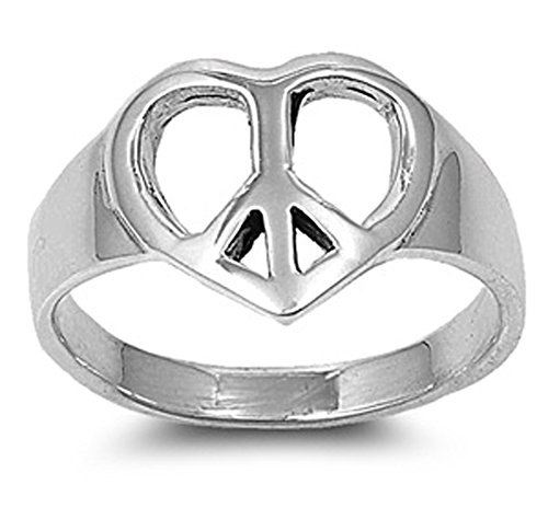 Sterling Silver Woman'S Heart Peace Sign Ring Classic Comfort Fit 925 Band 13Mm Size 10 Valentines Day Gift