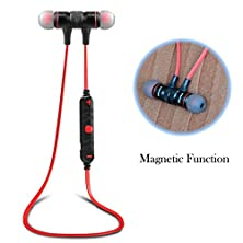 buy Bluetooth Headset, Sweatproof V4.0 Wireless Bluetooth Earphones In-Ear Noise Cancelling Headphones Earbuds With Microphone & Stereo For Running Sports With Magnet Attraction(Red)
