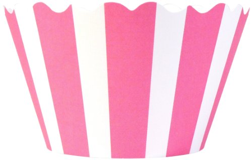 Bella Couture Audrey Stripes Cupcake Wrappers, Pink/White