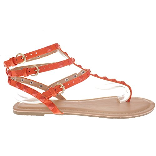 Wild Diva Pyramid Studded Ankle Buckle Strappy Wrap Thong Sandals OG 6.5