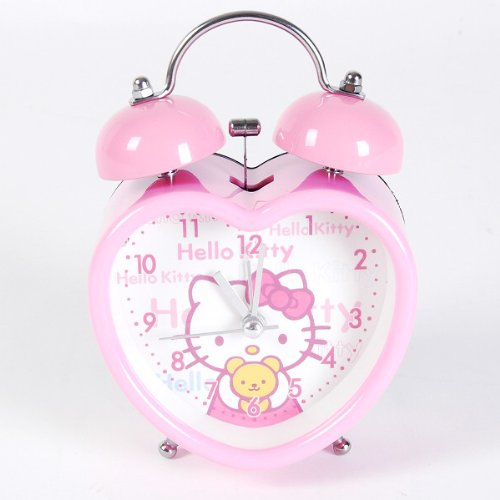 Hello Kitty Heart Shaped Desktop Alarm Clock Pink