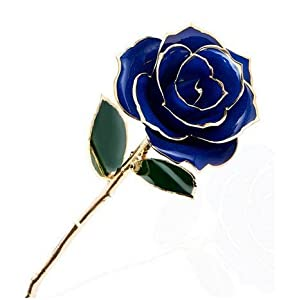 ZJchao(TM) love forever Long Stem Dipped 24k Gold Foil Trim Rose, Best Gift for Valentine's Day, Mother's Day, Anniversary, Birthday Gift (blue)