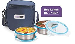 Steel Lock Hl-1321 Steel Airtight Lunch Box With Insulated Bag, 2 Pieces, Silver