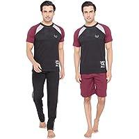 Men's Black color Round Neck Top, Pyjama & Shorts 3 Piece Set by Valentine