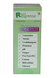 Rapid Response Urine Dipstick 10SG 10 parameter - Urinalysis Reagent Strips Bottle of 100 - Rapid