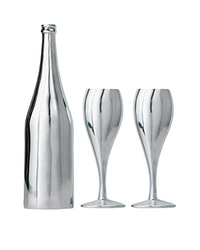 Torre and Tagus Aluminum Wine Bottle & Goblets Wall Décor