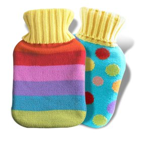 Groovy Colourful Striped or Spots Knitted Hot Water Bottle Cover & Bottle