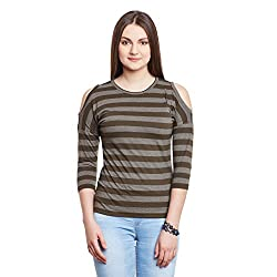 Hypernation Military Green Stripe Color Cotton Cold Shoulder Cotton Top For Women