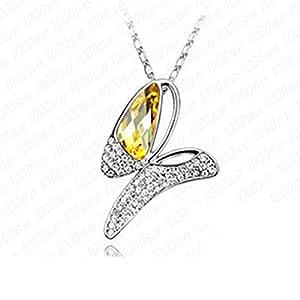LuxuryLady-8 Butterfly Pendant Simple Fashion Women Female Necklace(C3)