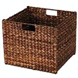 Household Essentials Natural Banana Leaf Storage Bin, Dark Brown Stain
