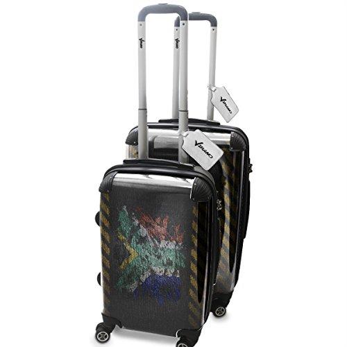 Drapeau Graffiti Afrique Du Sud, 2 pièce Set Luggage Bagage Trolley de Voyage Rigide 360 degree 4 Roues Valise avec Echangeable Design Coloré. Grandeur: Adapté à la Cabine S, M