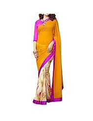 Bhavi Embellished Printed Georgette Saree - B00NBXYD5Q