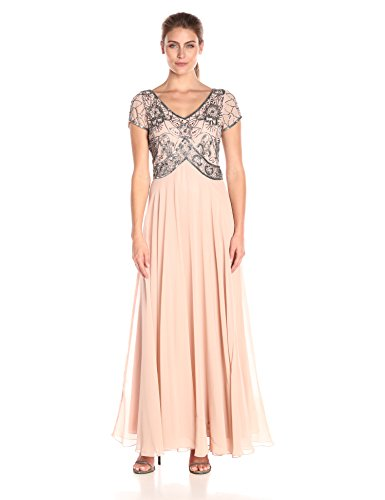J Kara Women's Cap V-Neck Beaded Dress, Blush/Mercury, 14