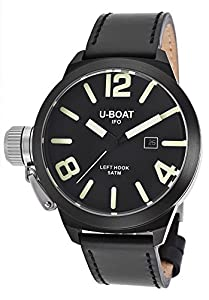 U-Boat Men's Left Hook IFO Black Genuine Leather Black Dial from U-Boat