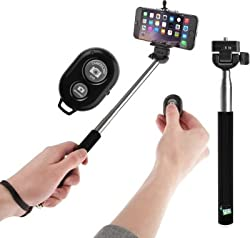 Extendable Self Portrait Selfie Handheld Stick Monopod + Wireless Bluetooth Remote Control For Micromax Ninja A89