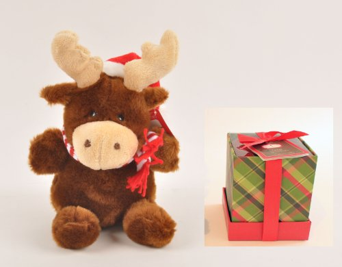 Holiday Gift Set - Christmas Gift Idea, Holiday Plush Gift Set - Holiday Scented Candle and Reindeer Plush Gift Set
