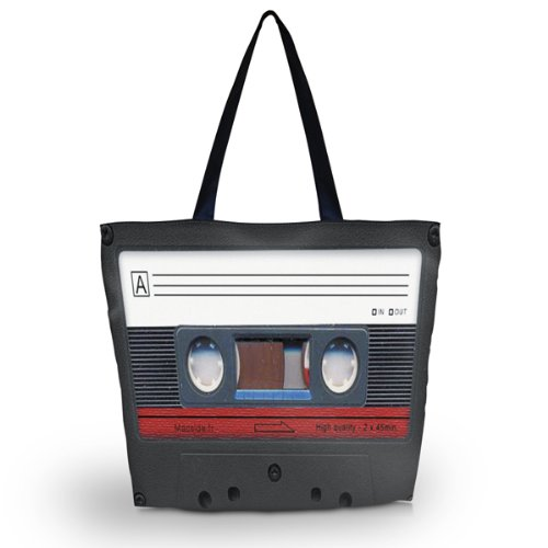 Cassette Tape Foldable Shopping Bag - unisex design and foldable. Printed both sides and high quality