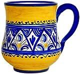 Hand-Painted Ceramic Mug from Spain. Yellow