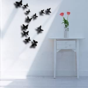 24pcs 3D Butterfly Wall Stickers Decor Art Decorations Black 3 Size from Beautymall