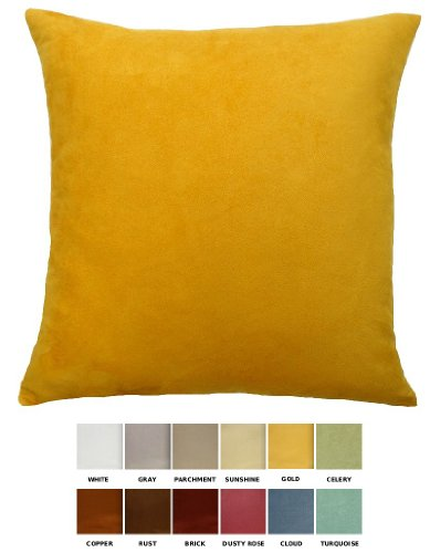 """Dreamhome - Solid Faux Suede Decorative Pillow Cover/Sham, 18"""" X 18"""" - Gold front-340316"""