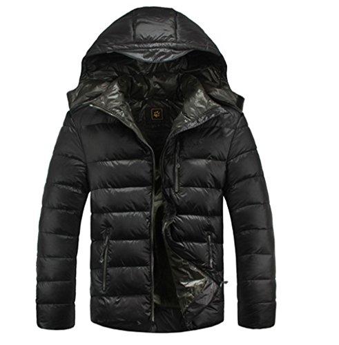 Sanlise Winterjacken Männer Daunen M Jacke Thick warmen Mantel Männer Wolljacke Herren Freizeitkleidung Männer klassischen Stil Mantel kurz Mantel (Asia3XL-Eur XL, Schwarz)