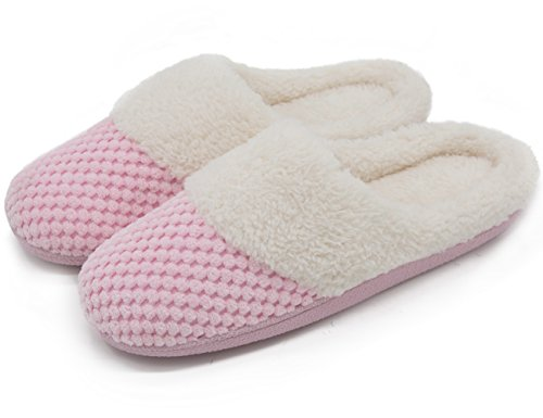 UltraIdeas Women's Soft Gridding Coral Velvet Short Plush Lining Slip-on Memory Foam Clog Indoor Slippers (Large / 9-10 B(M), Pink)