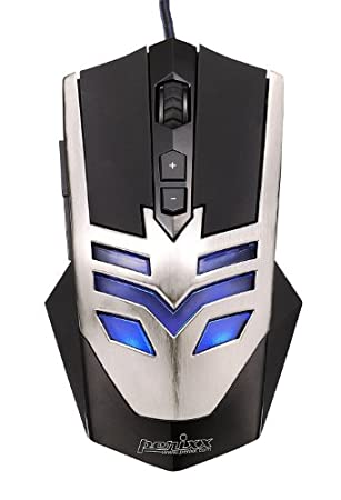 Perixx MX-1000 Iron, Programmable Gaming Mouse - 7 Programmable Button & 5 User Profile - Omron Micro Switches - Gold-plated USB Connector - Braided Fiber Cable - Avago 2000DPI A3050 Optical Sensor - DPI Switch 500-4000 - Ultra Polling 1000HZ