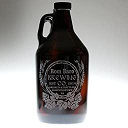 Personalized Engraved Homebrew Growler Rustic Hops and Wheat Design | Custom Beer Gift