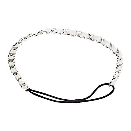 Mia Fashion Headband, Silver Chain with White Faux Leather