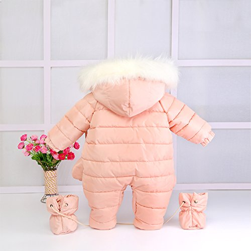 100% Cotton Down Baby Romper Winter Coat Cute Baby Snowsuit for 0-24 Months Baby (Small(0-8 months), Pink)