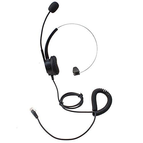 AGPTek® Headset cuffie per call center Liberta con 4-Pin RJ9 Testa di Vetro