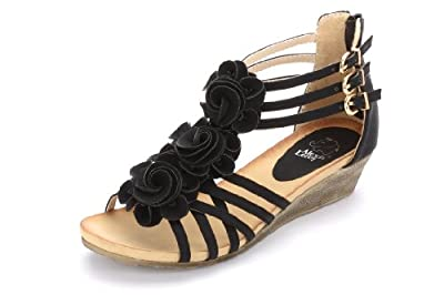 Alexis Leroy New Arrival Women Fashion Summer Wedge Heel T-straps Buckle Sandals