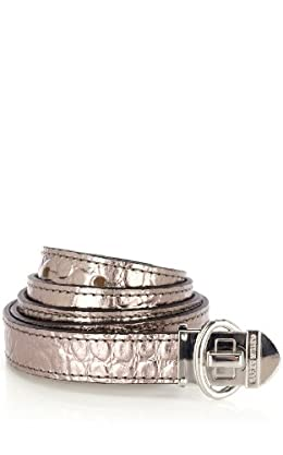 Metallic Leather Croc Waist Belt