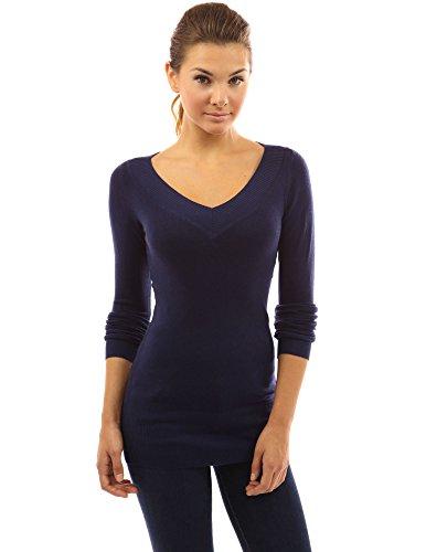 PattyBoutik Women's V Neck Long Sleeve Tunic Sweater (Dark Blue S)