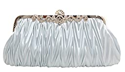 Pulama® - Evening Handbag Classic Satin Detachable Strap Ice Blue Silver Clutch