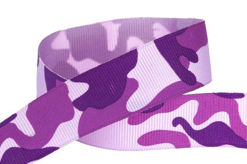 HipGirl Printed Grosgrain Camouflage Ribbon, 5-Yard 7/8-Inch, Purple (Dora Shower Head compare prices)