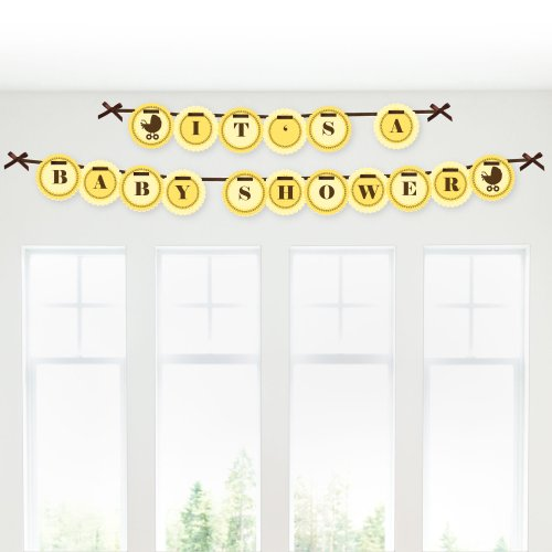 Neutral Baby Carriage - Baby Shower Garland Banners front-686958