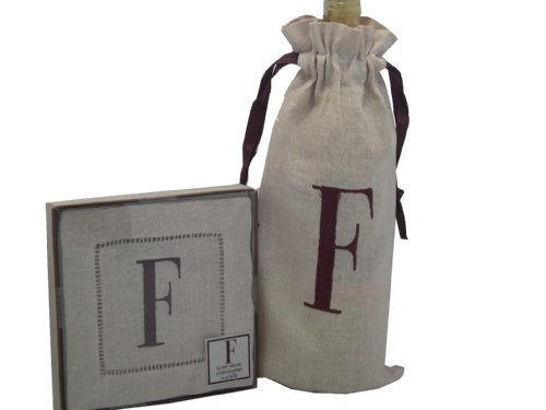 Mud Pie Initials Cosmopolitan Home Linen Bottle Bag and Set of 4 Linen Coasters, Letter F