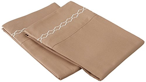 Super Soft Light Weight, 100% Brushed Microfiber, King, Taupe with Ivory Cloud Embroidery 2-Piece Pillowcase Set