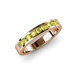 Yellow Diamond 9 Stone Wedding Band 0.36 ct tw in 14K Rose Gold.size 5.5