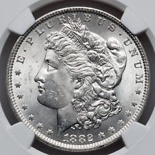1882 O (Over S) Morgan Silver Dollar MS 65